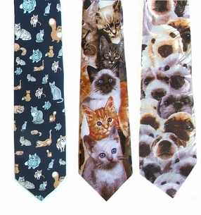 Adorable Dog & Cat Poly Neckties