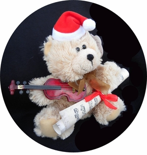 Adorable Violin Bear Santa