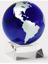Asian Cobalt & Silver Hand Blown Globe on Base