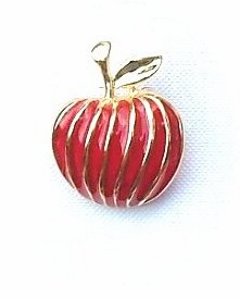 Beautiful Enamel/gold Apple Pin - CLOSEOUT-only 10 left!
