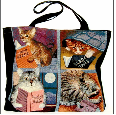 Cat /Book Lovers Tapestry Pillows & Totes - DISCONTINUED! ON SALE!