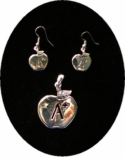 CLEARANCE!  Pretty Silvertone Apple/Teacher Necklace/Earrings Set - ONSALE!