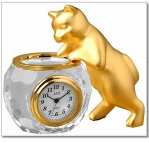 Collector Miniture Cat clock with Crystal Fish Bowl