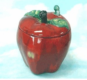 Colorful Ceramic Apple Candy/Cookie Jar with whimsical Worm