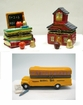 Colorful Faux Limoges School Theme Hinged boxes