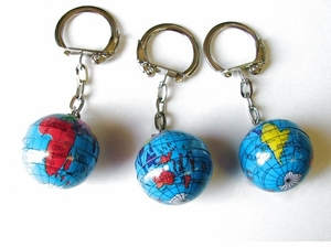 Colorful Globe Key Ring 10/Pak