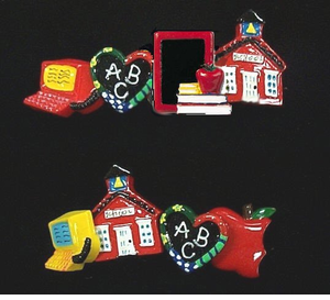 Colorful Teacher Button Covers, Hair Clips, Earrings & More