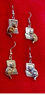 Computer Cat Earrings