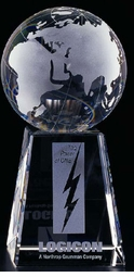 Crystal Globe (or Golf) Award - 2 sizes