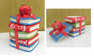 Cute Book Theme Ceramic Cookie/Treat Jar