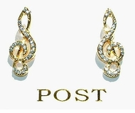 Delicate Musical Clef Rhinestone Post Earrings