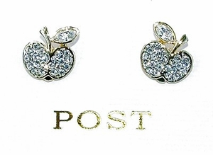 Delicate Rhinestone Post Apple Earrings