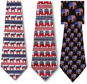 Democrat and Republican Political Neckties