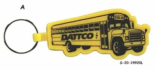 Economical School Bus theme soft plastic key tag with one piece ring attachment.