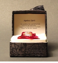"Elegant Blown Glass Red Hat ""Messenger"" in a Brocaid Box - CLEARANCE!"