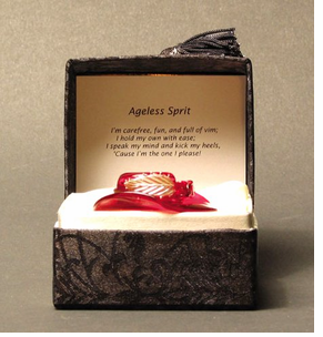 """Elegant Blown Glass Red Hat """"Messenger"""" in a Brocaid Box - CLEARANCE!"""