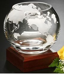 "Elegant Etched  9"" Crystal Globe Bowl - 3 Sizes"