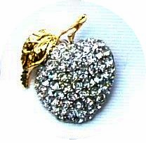 Elegant Rhinestone Apple Pin - only 5 left!