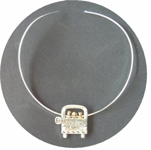 Elegant Silver and Goldtone School Bus Pin/Pendants Neck Ring - 2 styles