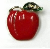 Enamel Apple Pin with Rhinestone LadyBug on the Leaf -only 2 left!