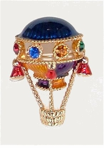 Enameled and Jeweled Hot Air Balloon Pin- ON SALE!