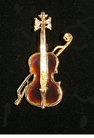 Enameled Violin Pin  -CLOSEOUT! - $5.00