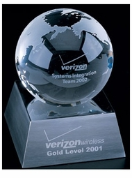 Etched Crystal Globe Awards - 3 sizes
