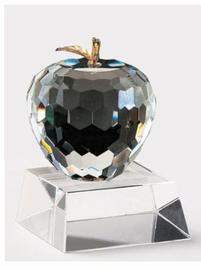 Faceted Crystal Apple with Brass  Leaf by Badash