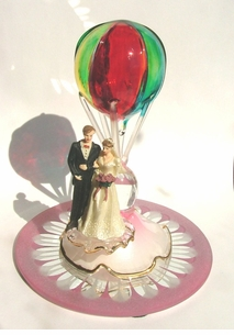 For that Wedding in the Sky- Delicate Blown Glass Hot Air Balloon with Bride and Groom