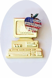 """Freedom to Teach"" Patriotic Computer Pin - ON SALE!"