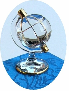 Gilded Blown Glass Globe Messenger in Silk brocaid box CLEARANCE!