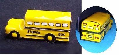 Golden and Enamel Faux Limoges<BR> School Bus Jewelry box
