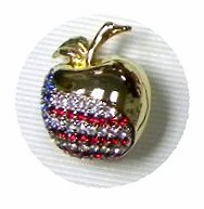 Golden Rhinestone Patriotic Apple Pin