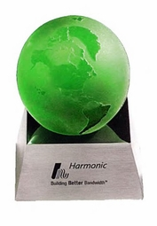 Green Globe on Mirrored Base