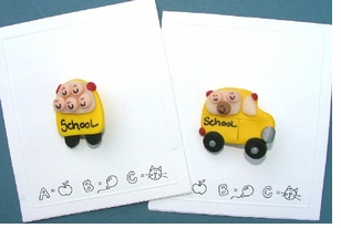 Hand Made School Bus Pins-EXCLUSIVE Half Price!