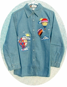 Hot Air Balloon Long Sleeve Denim Shirt ON SALE!