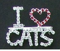 I Love Cats Rhinestone Pin