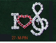 I Love Music Rhinestone Pin  -ON SALE!