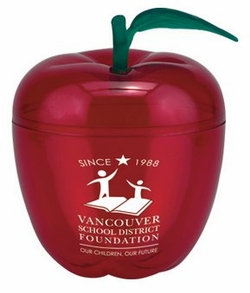 "Imprinted Big Red Apple Container - 5-1/2"" High"