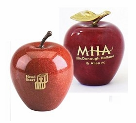 Imprinted or Etched Marble Apple Awards / Paperweights
