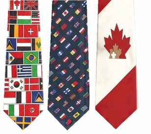 International & Canadian Flag Poly Neckties- SPECIAL- ONLY $7.95!