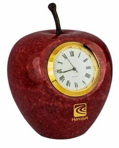 Marble Apple Clock with Natural Stem with Optional Wood Base