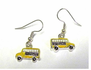 Mini Enameled School Bus Earrings