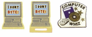 New Enameled Computer Lapel Pins / 4-Pak