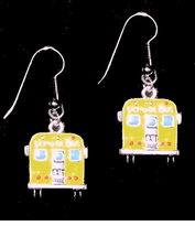 NEW! Enameled on Silver School Bus Earrings