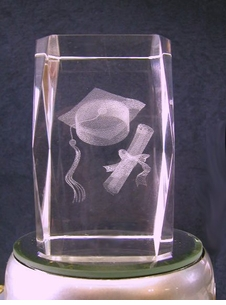 Graduation Lazer Crystal Paperweight/Award