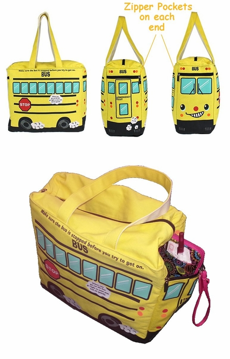Large School Bus Insulated Canvas Zip Tote Diaper Bag Don Like Us On Facebook