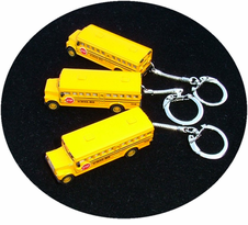 No Imprint - Metal Die Cast School Bus Key Ring / 5 PAK - 2 Styles