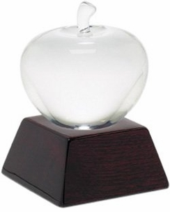 Opti Crystal Apple on Wood Base