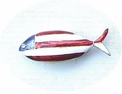 Patriotic Christian Fish Pin